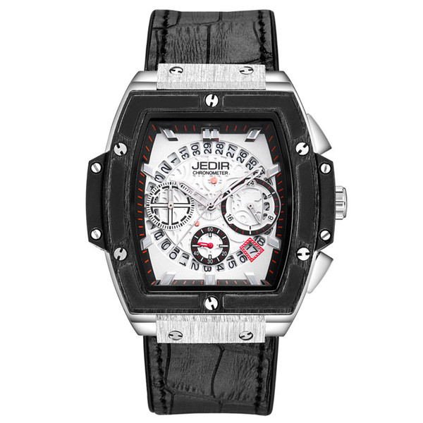 Men Sport Quartz Watch Tonneau Military Wristwatch Analog Calendar Black White Big Gear Dial Silicone Leather Watchband Belt Buckle