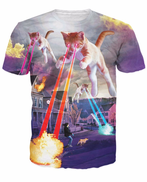 Kitten Invasion T-Shirt Kittens Overlords Spreading Fear Destruction Lasers Cat 3D T Shirt Women Men Tees Tops Outfits