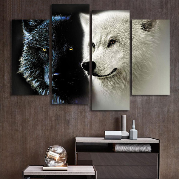 Modular Picture Wall Art Canvas 4 Panel Black White Wolf Animal Painting Home Decoration For Living Room Modern Printing Type