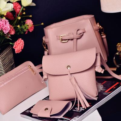2018 New Bucket-type Trend Tassel Four-piece Mother-in-law Shoulder Messenger Bag Fashion Wild Design Beautifully Multifunctional Handbag