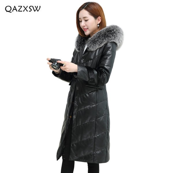 QAZXSW 2018 New Genuine Sheepkin Coats Plus Velvet Thick Down Jacket Long Slim Women Real Leather Jackets Single Breasted LD112