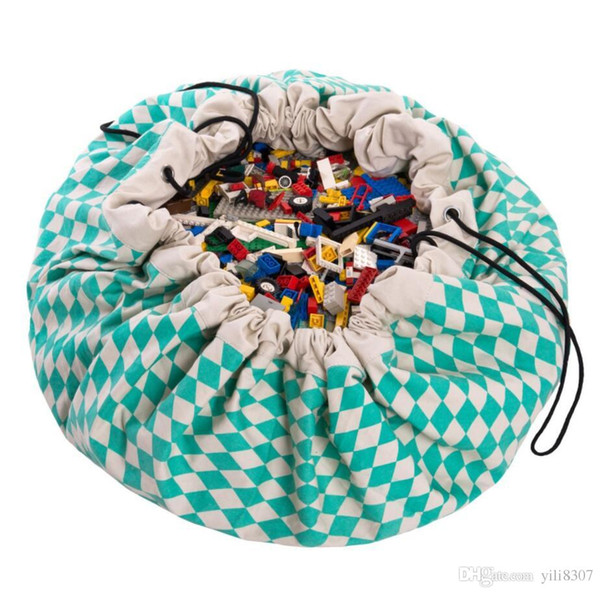 140CM Mother Care Teal Diamond Bags Baby Play Pouch Kids Play Mat Blanket Canvas Toys Storage Bag Mummy Opbergtas Travel Round Carpet Zak