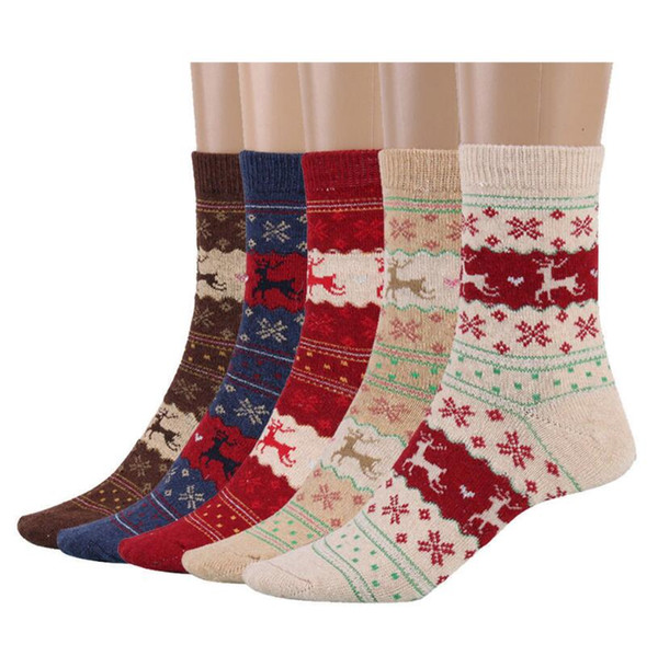 best selling Women Christmas Gift Sock 5 Styles Winter Rabbit Wool Snowflake Deer Pattern Sockings Autumn Warm Socks OOA5579