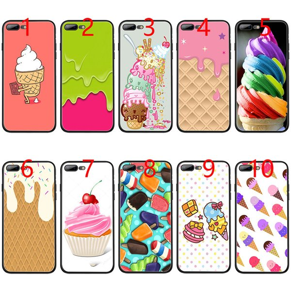 Melt Ice cream Cream Fancy Rainbow Swirl Soft Black TPU Phone Case for iPhone XS Max XR 6 6s 7 8 Plus 5 5s SE Cover