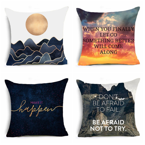 Nordic Geometric Letter Sunrise Cushion Covers Scenic Throw Pillow Cover Sofa Decorative Pillow Case Home Decor Set of 4