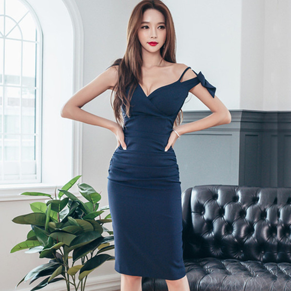 2018 Summer Style Ol Lady Sexy Formal Bodycon Dress Elegant Sleeveless Bow Pencil  Dresses Office Wear Women Work Clothes Female 532329d60