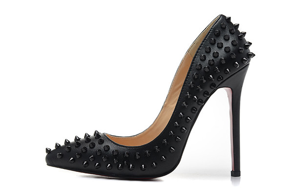 Women's 10-12cm High Heels Black Genuine Leather With Full Spikes Pointed Toe Pumps, Ladies Luxury Design Wedding Party Dress Shoes 34-41