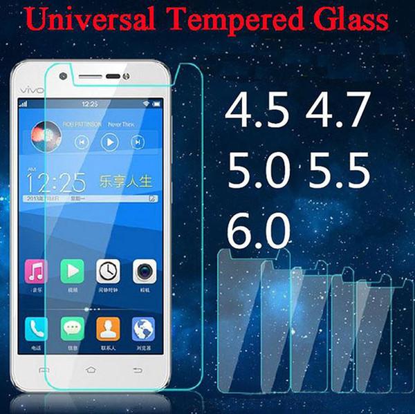 Universal Tempered Glass 4.0 4.3 4.5 4.7 5.0 5.3 5.5 6.0 pollici Pellicola salvaschermo per Moto Xiaomi ZTE Huawei