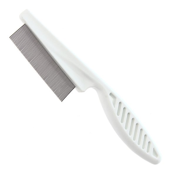 White Dog Comb Stainless Steel Pet Brushes Dense Gilling Combs for Flea Removal Puppy Cats Hair Grooming Products S/L