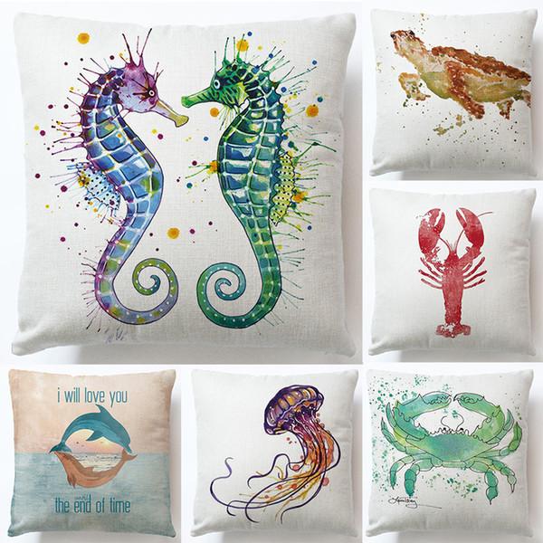 39 stil marine tier octopcs fisch seepferdchen leinen kissen weiche nette kissen für home hotel kissenbezug taille kissenbezug