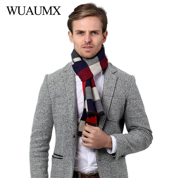 wholesale Vintage Autumn Winter Scarf Men Casual Scarves Male thick Warm Muffler Soft Plaid Shawls High Quality echarpe homme 180cm