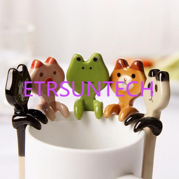 best selling Cartoon Animal Hanging Spoon Ceramic Coffee Tea Sauce Spoon Scoop Stirring Panda Bear Frog Cat Spoon Tableware QW8036