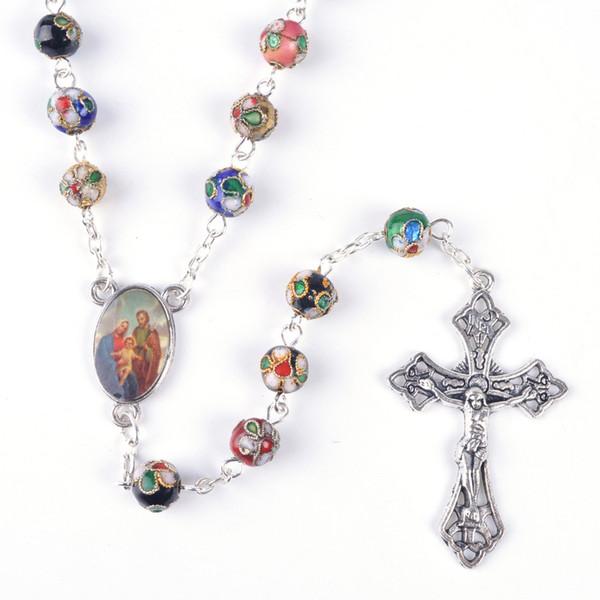 Fashionable Round Mixed Color Cloisonne Beads Holy Family Catholic Rosary Necklace