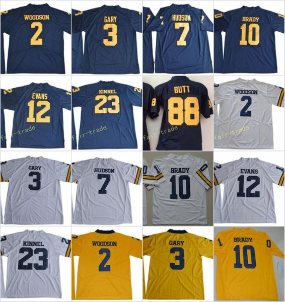 399481264 Michigan Wolverines 2 Charles Woodson 10 Tom Brady 3 Rashan Gary 88 Jake  Butt 12 Evans 23 Tyree Kinnel 7 Hudson College Football Jersey