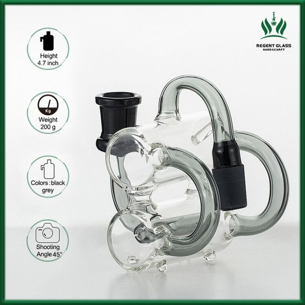 Glass Gong Ash Catcher Recycler perc ashcatcher 14mm 45 90 degrees double water pipes Precooler heady black 18mm bongs Adapter ash catchers