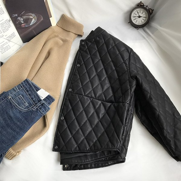 Winter Women Pu Leather Jacket Single Breasted Black Korean Plaid Short Jacket Padded Clothes Casual PU Coats
