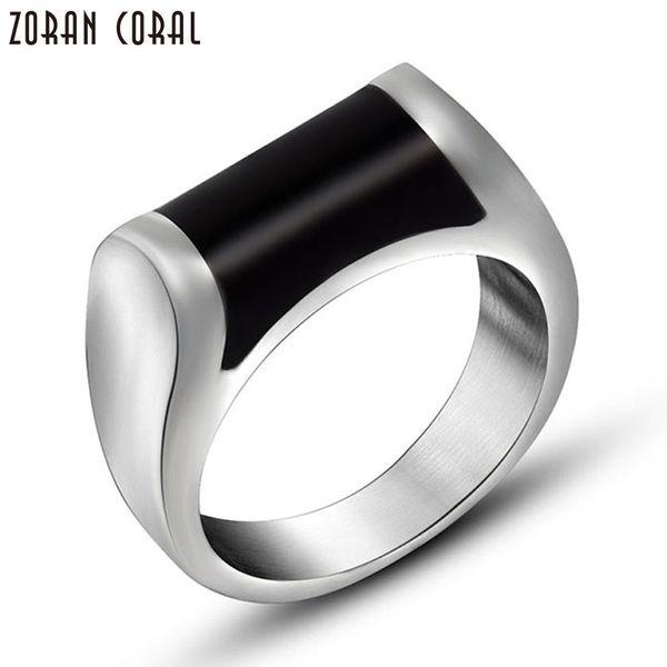 Zoran Coral New Fashion simple stylish black stone Rings Fashion man Finger Men Ring Titanium Steel Jewelry anel masculino R8055