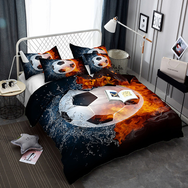 Digital printing football bedding set queen size 3d printed sports duvet Cover With Pillowcases single king Bed design bedline
