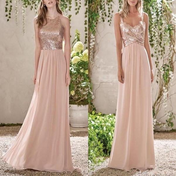 Elegante Rose Gold Pailletten Chiffon Lange Brautjungfernkleider Halter Backless Straps Rüschen Hochzeitsgast Plus Size Trauzeugin Kleider BM0154