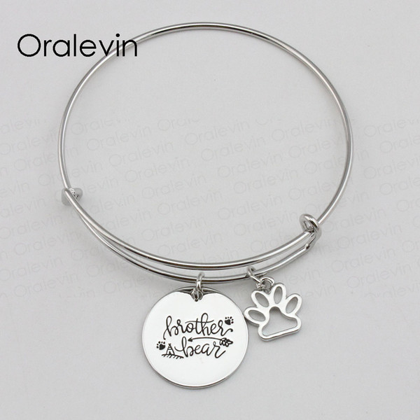 BROTHER BEAR Inspirational Hand Stamped Engraved Custom Pendant Expandable Wire Bangle Bracelet Diy Jewelry,10Pcs/Lot, #LN2240B