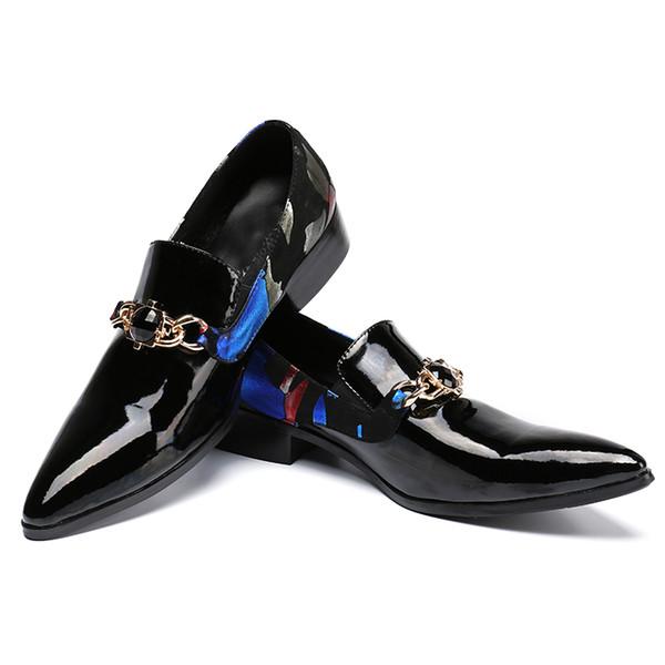 Ketten Mann Lackleder Beiläufigen Geschäfts Spitzen Oxford Schuhe Beleg Klassische Schuh Auf Großhandel Männer Schwarze Hochzeits Italienischen WH9DY2EI