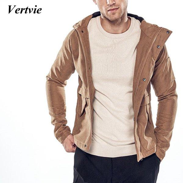 VERTVIE otoño invierno nuevos hombres abrigos a prueba de viento chaquetas masculinas clásicas chaquetas con capucha delgada moda casual ropa de algodón sólido
