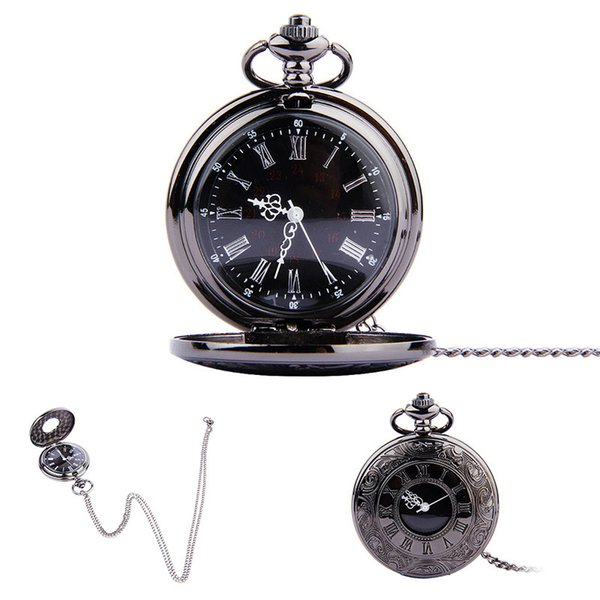 New Black Pendant Number Minimalism Quartz Pocket Watch Necklace Man And Women Fashion Accessories Hot Sale 12 5hy Ww