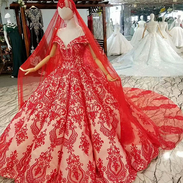 2019 Red Vintage Curve Shape Evening Dresses Off The Shoulder Sweetheart Ball Gown Bride Dresses With Long Veil Girl Pageant Dress