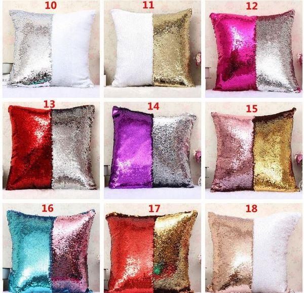 Criativo Personalizado Impressão Cor Lantejoulas Travesseiro Sereia Capa de Almofada Two-color Changing Bright Fronha Sofá Carro Decoração de Natal