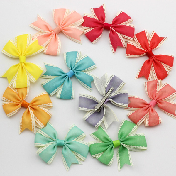 30pcs Grosgrain Ribbon Crochet Bows With Hair Clips Baby Girls Boutique Bows Headwear Hair Accessories For Children Hair Clip