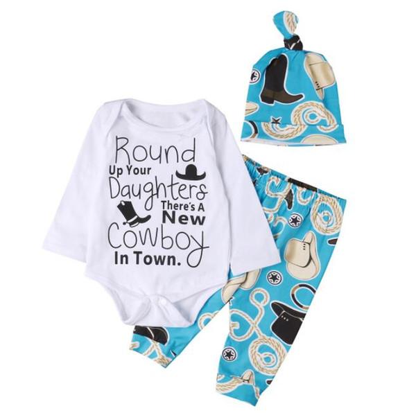 Yenidoğan Bebek Boys Kahverengi Kovboy Şapka Ayakkabı desen Romper Pantolon Şapka 3 Adet Set Kıyafetler Mektup Baskı Çocuklar Çocuk Giysileri 0-18 M BY0309