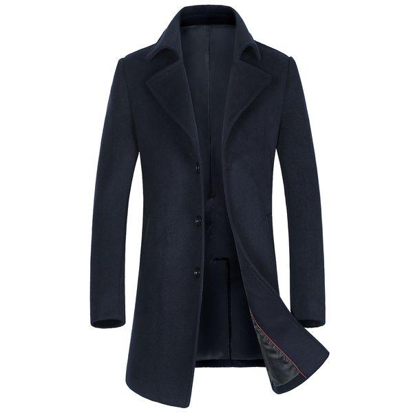 História de Xangai dos homens novos Casacos De Lã Cashmere Jacket, Homem longo casaco trincheira turn-down collar casaco De Lã