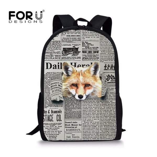 FORUDESIGNS Fashion Primary School Bag Wolf Newspaper Pattern Children Bookbag for Boys Students Orthopedic Backpack Sac Enfant