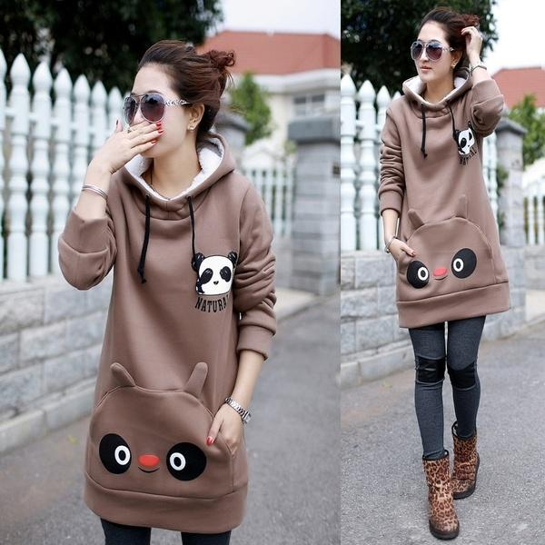 A Hooded Fleece Jacket panda fashion printing thick double coat liner warm spot in pregnant women
