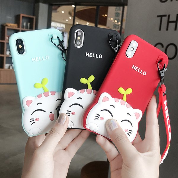 New Designer For iPhone 8 Plus 7 Plus 6 Kawaii 3D Cute Cartoon Cat Soft Rubber Silicone Shockproof Drop Protection Durable Bumper Case Cover
