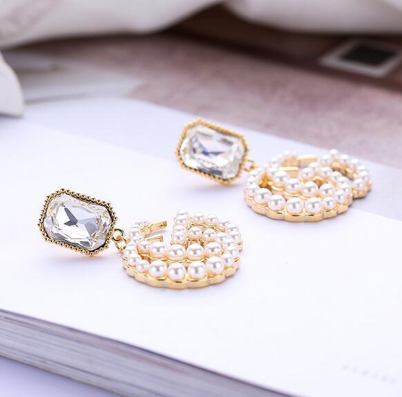 Wholesale Pearl Letters Logo Dangle Drop Earrings Geometry Cubic CZ Crystal Earring 925 Silver Needle Earring Women Wedding Jewelry