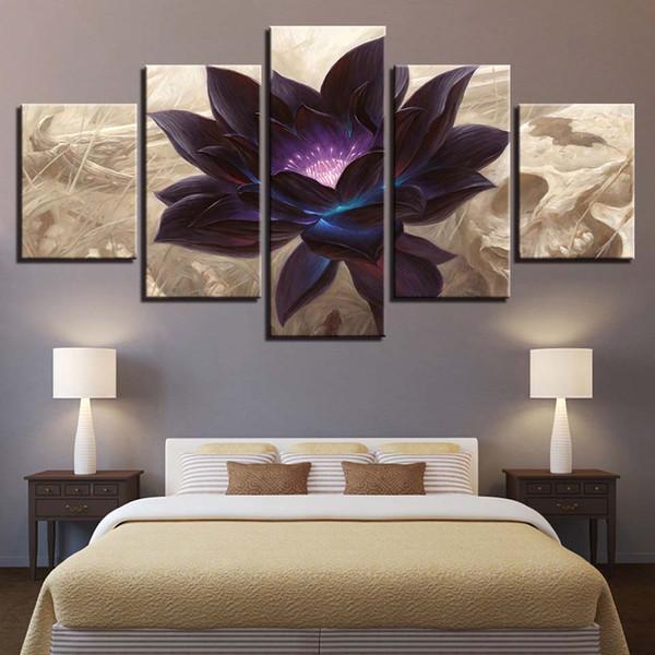 Modern Canvas HD Poster Poster Framework Bebroom Decor 5 pezzi Black Lotus Paintings Modular Wall Art Immagini di fiori astratti