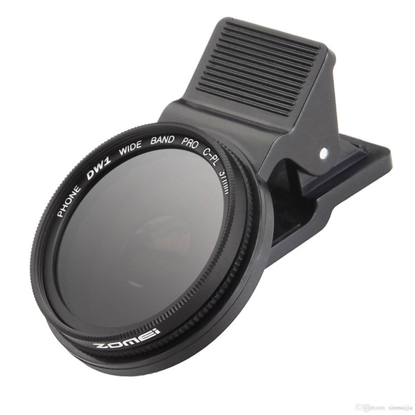Black 37mm Thread Clip-On Circular Polarizing CPL Camera Lens Filter For iPhone/Android Smart Cell Phone