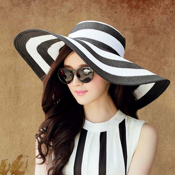 0f29f52b63e New Fashion Summer Women s Sun Hat Girl Classic Black and White Striped Vintage  Wide Large Brim