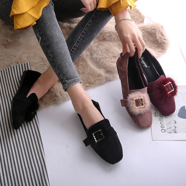Shoes Woman Buckle Flats Winter Loafers Rabbit Fur Slip on Slides Big Size Fleece Square Toe Shoes Black Red Pink Zapatos Mujer