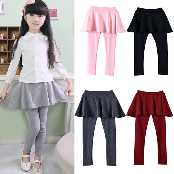 best selling Girl Cake Skirt Leggings Pants Tights Baby Autumn Pants Kids Leggings with Skirt Pants Cake Skirt Trousers Clothes 100-150CM 120pcs AAA1048