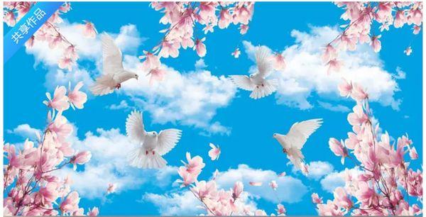 Custom 3D Photo Ceiling Wallpaper Blue sky white clouds peach pigeon zenith mural home Interior Decor Living Room Ceiling Lobby Mural Wall