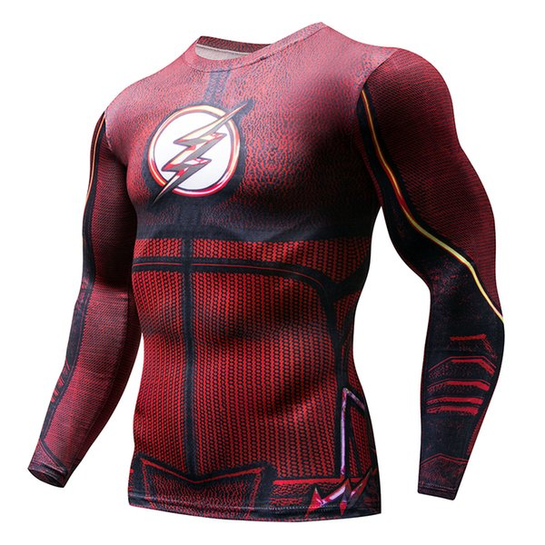 Mens Compression Running T Shirt Men Outdoor Sport Fitness Bodybuilding Tight Tops 3D Printed Superhero Gym Cosplay Clothing
