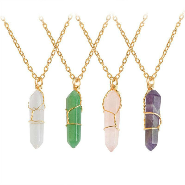 Low Price Discount Hexagon Shape Chakra Natural Stone Healing Point Pendants Necklaces With Gold Chain For Women Jewelry Gift Drop Shipping