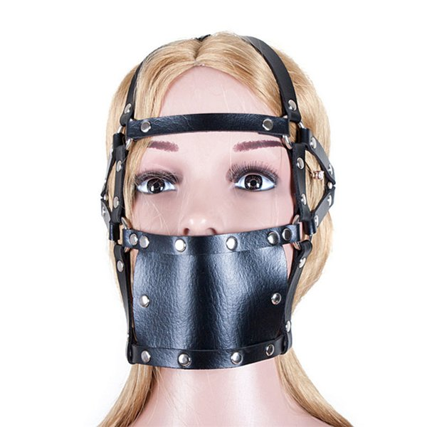 ABS Ball Gag Mouth Plug Head PVC Leather Mask Mouth Muzzles Gag Head Harness Bondage Fetish Sex Product Erotic Toys For Women