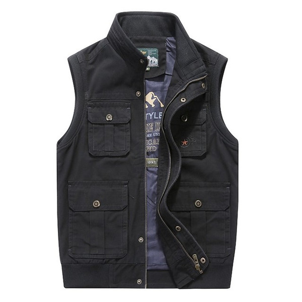 Artı Büyük Boy 6XL 7XL 8XL Marka Giyim Sonbahar Erkek Yelekler Kolsuz Ceket Pamuk Rahat Çok Cep Yelek Erkek Yelek Coat