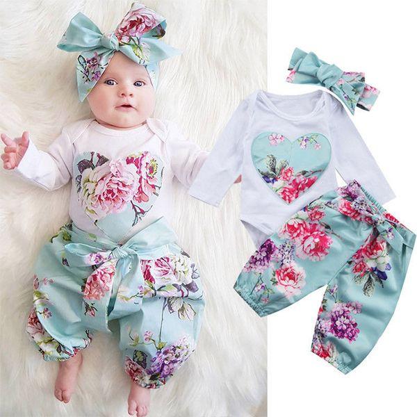 2018 Frühlings-Herbst-neue Art-Baby-Kleidungs-Herz-lange Hülse + Hose mit Stirnband 3pcs / set Ins Outfits Retro Blumenspielanzug