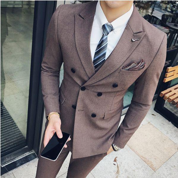 Özel Yapılmış Düğün en iyi adam sağdıç Smokin erkek Resmi Takım Elbise ceket + yelek + pantolon çift meme erkek blazer gentalman şerit