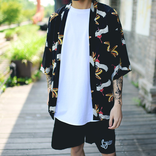 e67cffccd 2018 summer mens kimono designer cool japanese clothes swag male streetwear  casual outwear jackets harajuku cardigan outwear