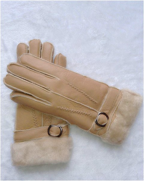 Winter outdoor warm gloves sheepskin gloves windproof waterproof antifreeze gloves solid color 100 leather